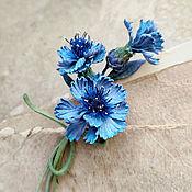 Украшения handmade. Livemaster - original item Flower brooch made of Cornflower leather.. Handmade.