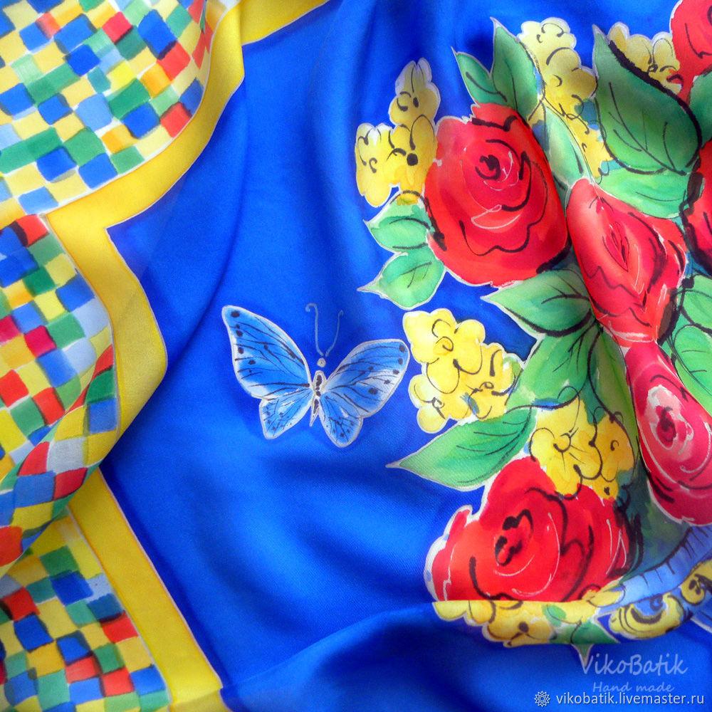 Синий шелковый платок батик с ручной росписью «Майолика» 90х90 см, Платки, Кисловодск,  Фото №1