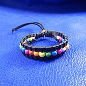Украшения handmade. Livemaster - original item Thin leather bracelet with colored beads Merry. Handmade.