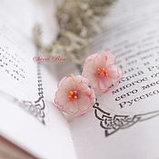 handmade. Livemaster - original item Sakura earrings studs. Handmade.