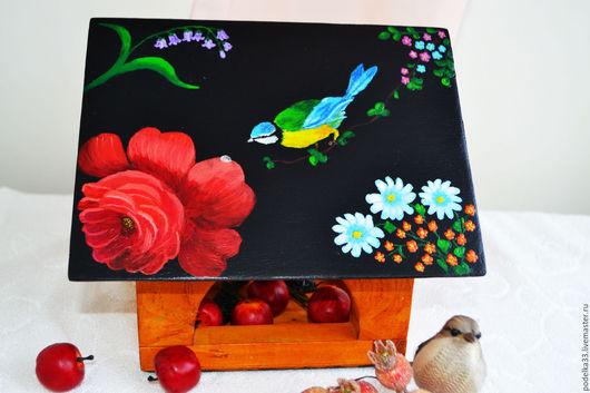Экстерьер и дача ручной работы. Ярмарка Мастеров - ручная работа. Купить Кормушка для птиц Алая роза, для сада в подарок. Handmade.
