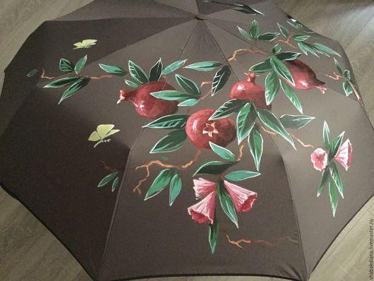 Зонты ручной работы. Ярмарка Мастеров - ручная работа. Купить Зонт с росписью - Ветка граната и ласточки. Handmade. Серый, бабочка