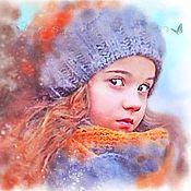Картины и панно ручной работы. Ярмарка Мастеров - ручная работа Портрет по фото (Где же зима???). Handmade.