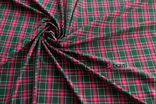 К-019 Ткань костюмная клетка. Цвет `Зелёный`.  Китай. 35%вискоза, 65%п/э. Ширина 145см. Цена: 560 руб. за 1м.