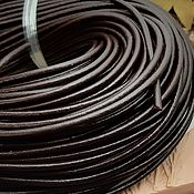 Материалы для творчества handmade. Livemaster - original item Leather cord 4mm dark brown (Ref. 2110-K). Handmade.
