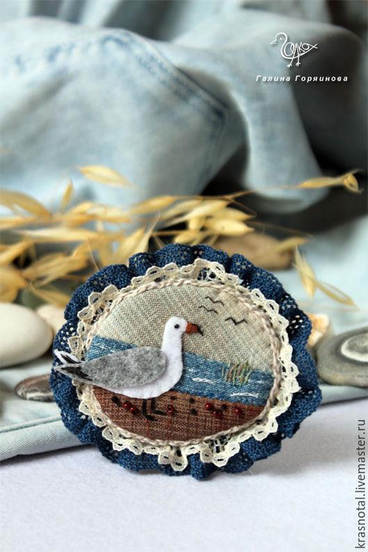 чайка, брошь с птицей, брошь, ,hjim, морская брошь, морской стиль, морское украшение