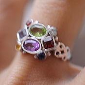 Украшения ручной работы. Ярмарка Мастеров - ручная работа 17.5красивое с камнями  кольцо серебряное. Handmade.