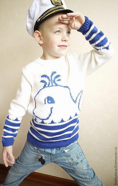 """Одежда для мальчиков, ручной работы. Ярмарка Мастеров - ручная работа. Купить Джемпер вязаный детский """"Кит"""". Handmade. Джемпер для мальчика"""