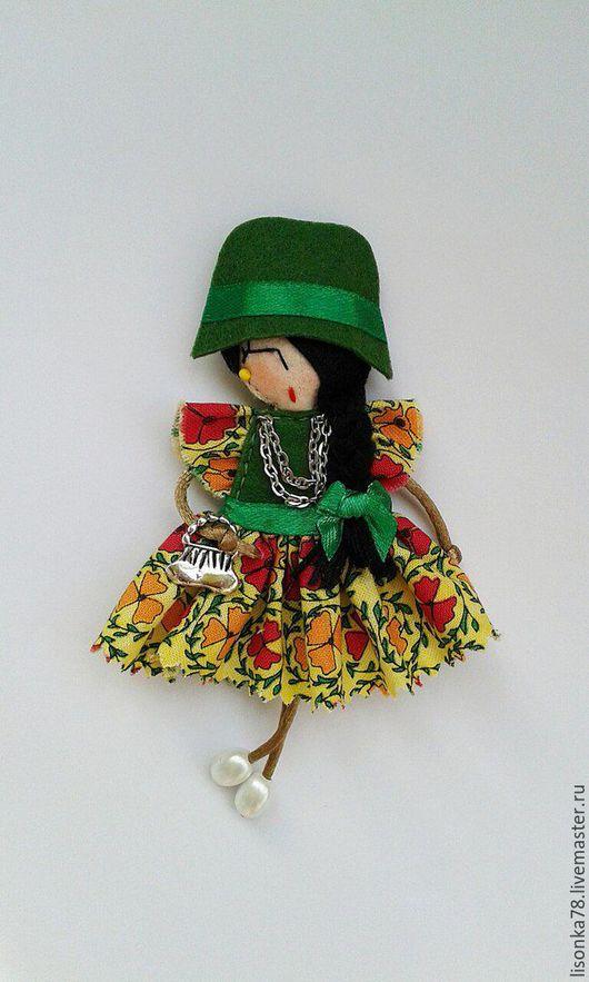 Броши ручной работы. Ярмарка Мастеров - ручная работа. Купить Брошка-куколка. Handmade. Зеленый, броши из фетра, стильные броши