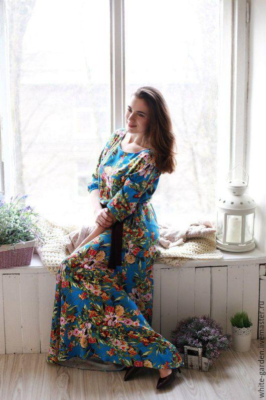 """Платья ручной работы. Ярмарка Мастеров - ручная работа. Купить Платье макси """"Тропики"""". Handmade. Комбинированный, платье в пол"""