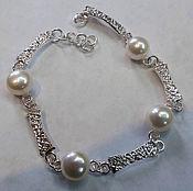 Украшения handmade. Livemaster - original item Bracelet 925 sterling silver, natural pearls.. Handmade.