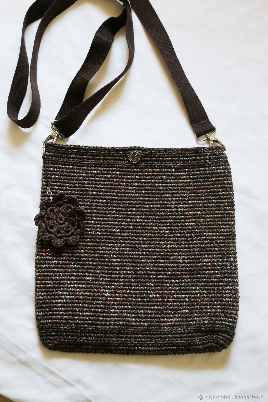 87d29ab633dc Женские сумки ручной работы. Вязаная сумка сумочка 'Милитари -гламур' с  цветком.