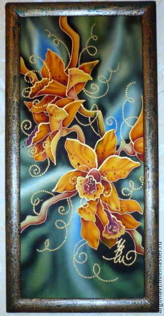 """Картины цветов ручной работы. Ярмарка Мастеров - ручная работа. Купить Декоративное панно """"Орхидеи"""". Handmade. Декоративное панно, цветы"""