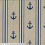Материалы для творчества ручной работы. Ярмарка Мастеров - ручная работа Интерьерная ткань морской стиль якоря. Handmade.