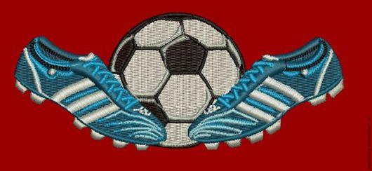 Иллюстрации ручной работы. Ярмарка Мастеров - ручная работа. Купить футбольный мяч и кроссовки дизайн машинной вышивки. Handmade.