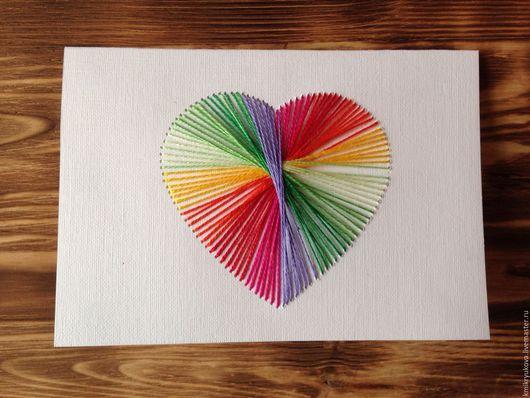 Валентинки ручной работы. Ярмарка Мастеров - ручная работа. Купить Открытка Сердце. Handmade. Комбинированный, святой валентин, сердечко, открытка