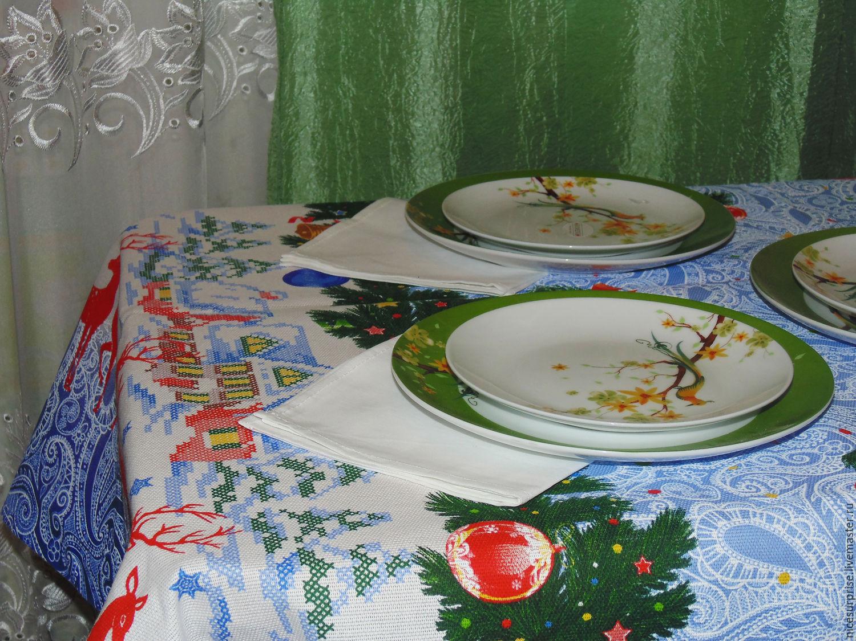 """Кухня ручной работы. Ярмарка Мастеров - ручная работа. Купить Скатерть """"Торжество"""". Handmade. Голубой, рисунок, веселый подарок, рогожка"""