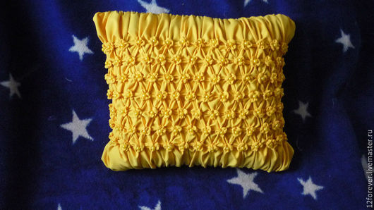 Текстиль, ковры ручной работы. Ярмарка Мастеров - ручная работа. Купить Подушка диванная (буфы). Handmade. Желтый, подушка на диван