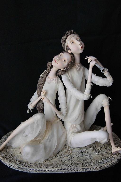 """Коллекционные куклы ручной работы. Ярмарка Мастеров - ручная работа. Купить """"Мелодия для двоих"""". Handmade. Чёрно-белый, шёлк натуральный"""