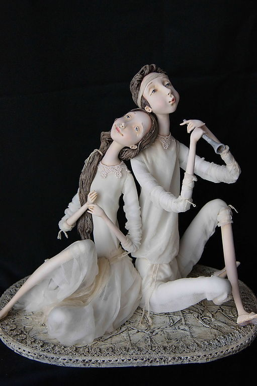 """Collectible Dolls handmade. Livemaster - handmade. Buy """"Melody for Two"""".Black-and-white, acryl"""