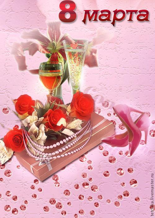 Фото-работы ручной работы. Ярмарка Мастеров - ручная работа. Купить коллаж, открытка к 8 марта. Handmade. Розовый, цветы