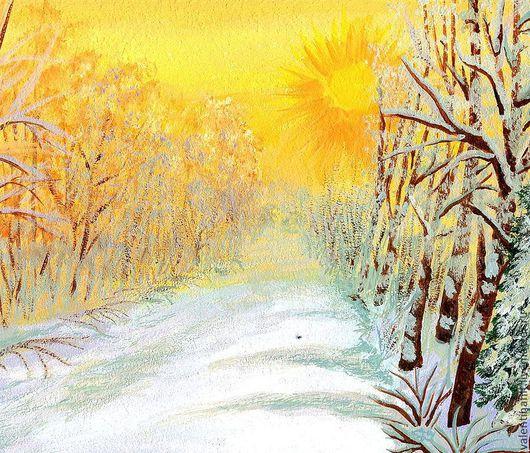"""Комплекты аксессуаров ручной работы. Ярмарка Мастеров - ручная работа. Купить картина """"Зимние солнце"""" (оранжевый, коричневый). Handmade. Пейзаж"""