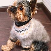 Для домашних животных, ручной работы. Ярмарка Мастеров - ручная работа Свитер собачья шерсть+лен для собаки. Handmade.