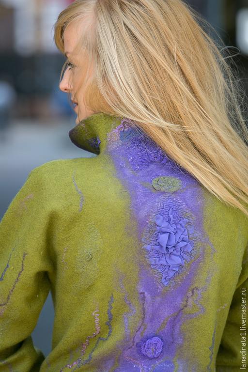 """Пиджаки, жакеты ручной работы. Ярмарка Мастеров - ручная работа. Купить Жакет """"Violet and olive"""" , валяная одежда, валяние,нунофелтинг. Handmade."""