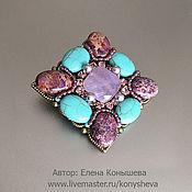Украшения handmade. Livemaster - original item Brooch Lavender and turquoise.. Handmade.