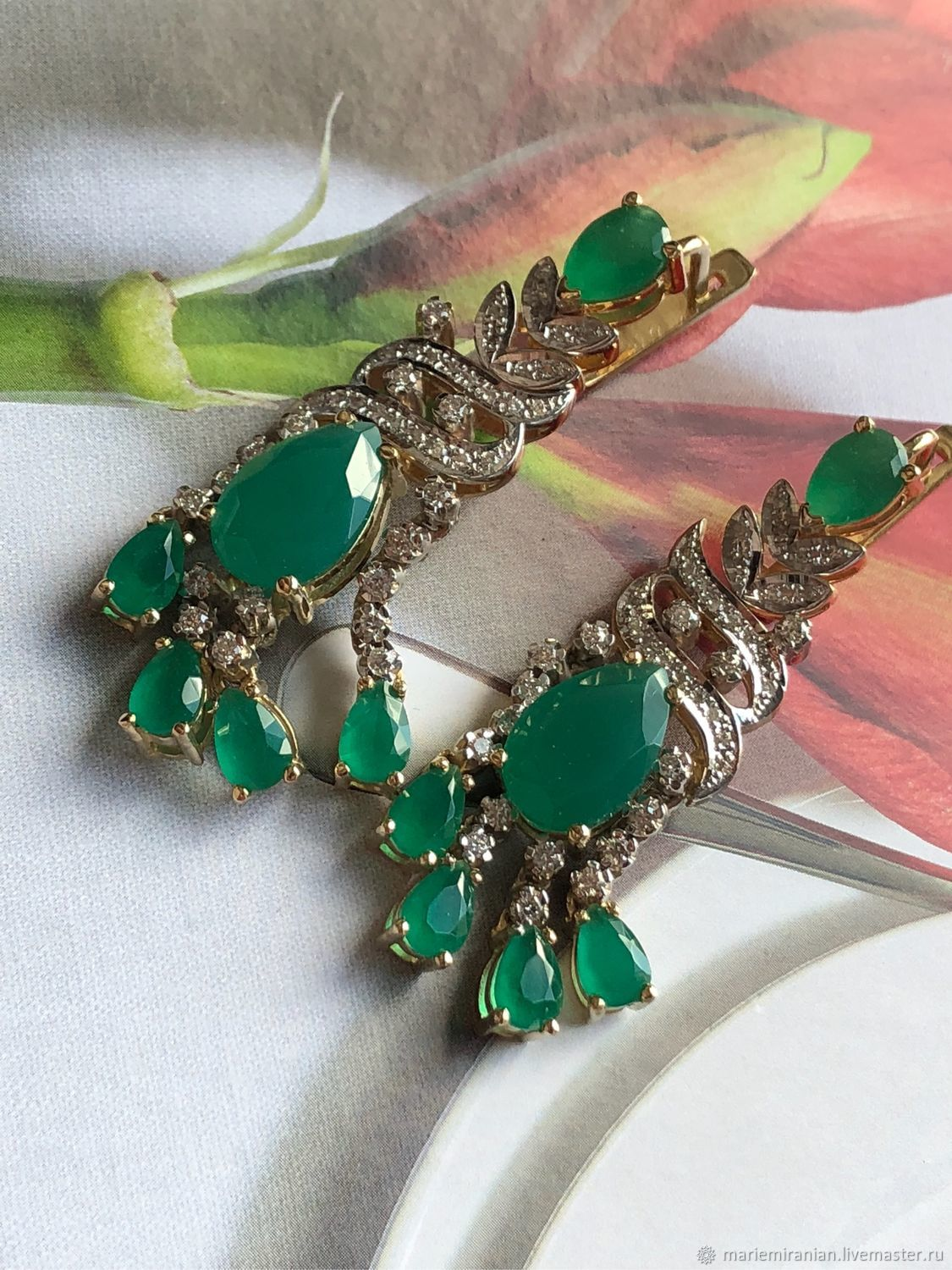 Aigul. Earrings and ring with chrysoprase and diamonds, Jewelry Sets, Moscow,  Фото №1
