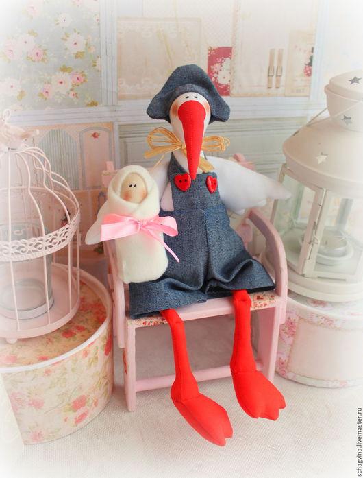 Куклы Тильды ручной работы. Ярмарка Мастеров - ручная работа. Купить Аист с девочкой. Handmade. Тильда, мама и малыш, бязь