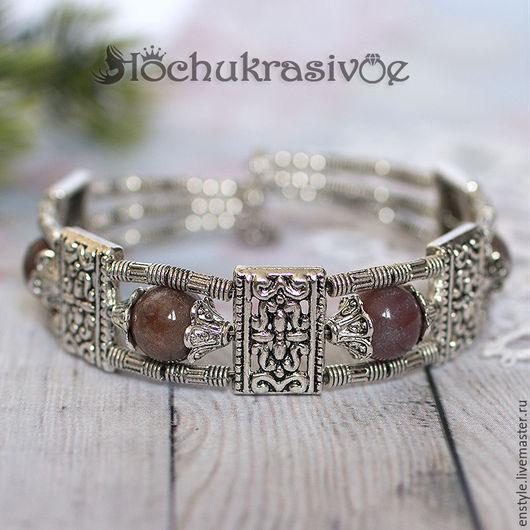 """Браслеты ручной работы. Ярмарка Мастеров - ручная работа. Купить Тибетский браслет """"Загадочная яшма"""". Handmade. Коралловый, тибетский стиль"""