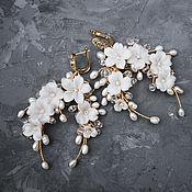 handmade. Livemaster - original item Wedding earrings with handmade flowers and river pearls. Handmade.