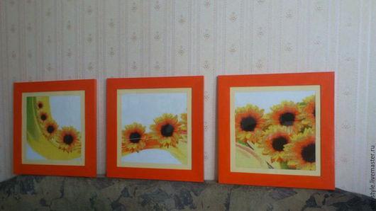 Картины цветов ручной работы. Ярмарка Мастеров - ручная работа. Купить Подсолнухи. Handmade. Комбинированный, интерьер, картина в подарок
