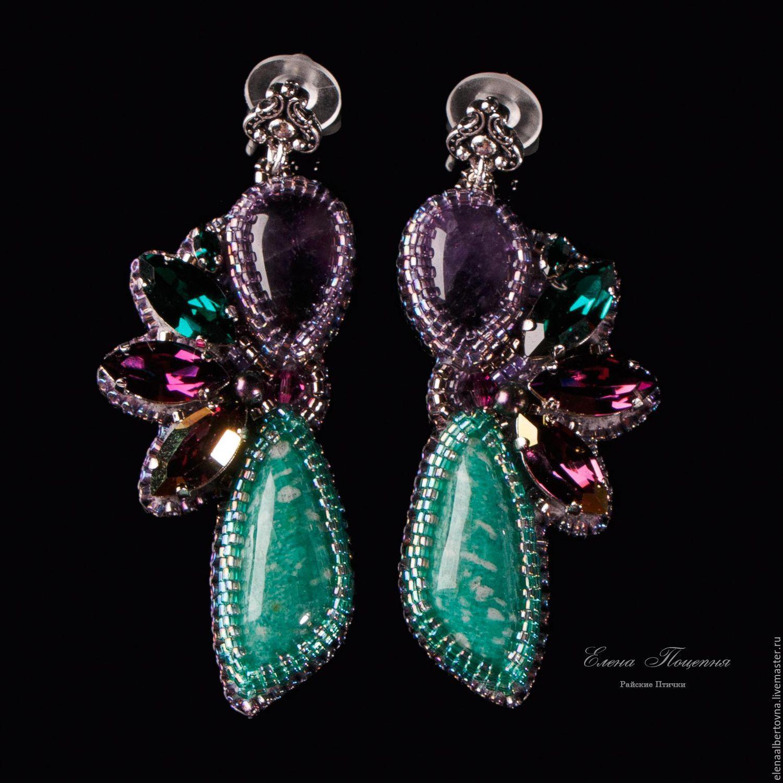 Purple green earrings beautiful birds of Paradise. purple. green ...