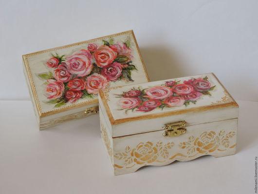 Расписная шкатулка Розовые мечты, шкатулка деревянная, шкатулка с розами, расписная шкатулка, купить шкатулку недорого, купить подарок девушке, купить подарок на свадьбу, handmade, белый, розовый