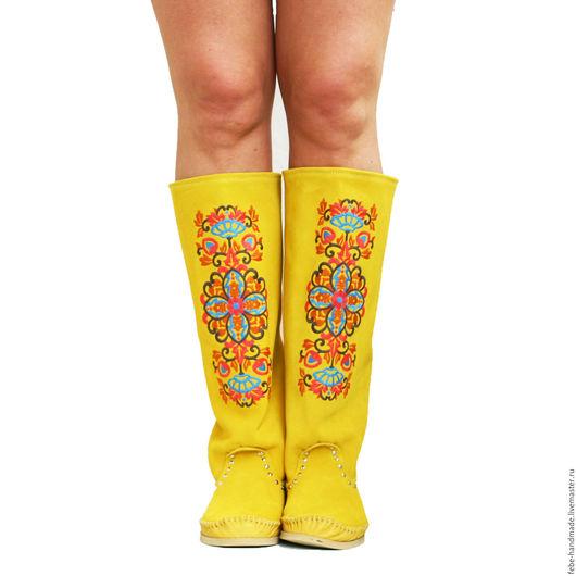 Обувь ручной работы. Ярмарка Мастеров - ручная работа. Купить Замшевые сапоги DESIDERIO /желтые/. Handmade. Желтый, замшевые сапоги