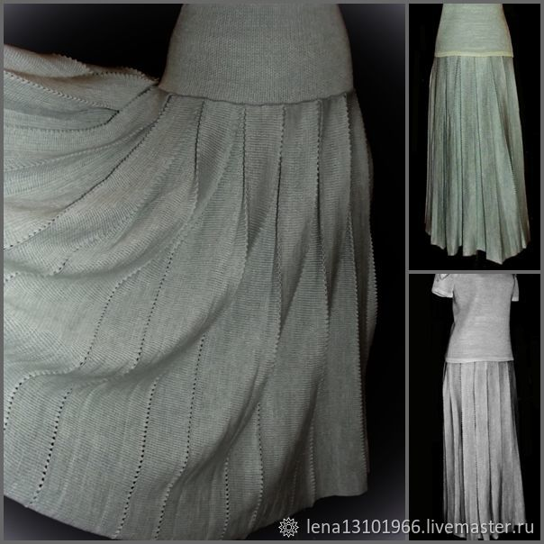 Associated linen MAXI Skirt, pleated at the yoke, Skirts, Kostroma,  Фото №1