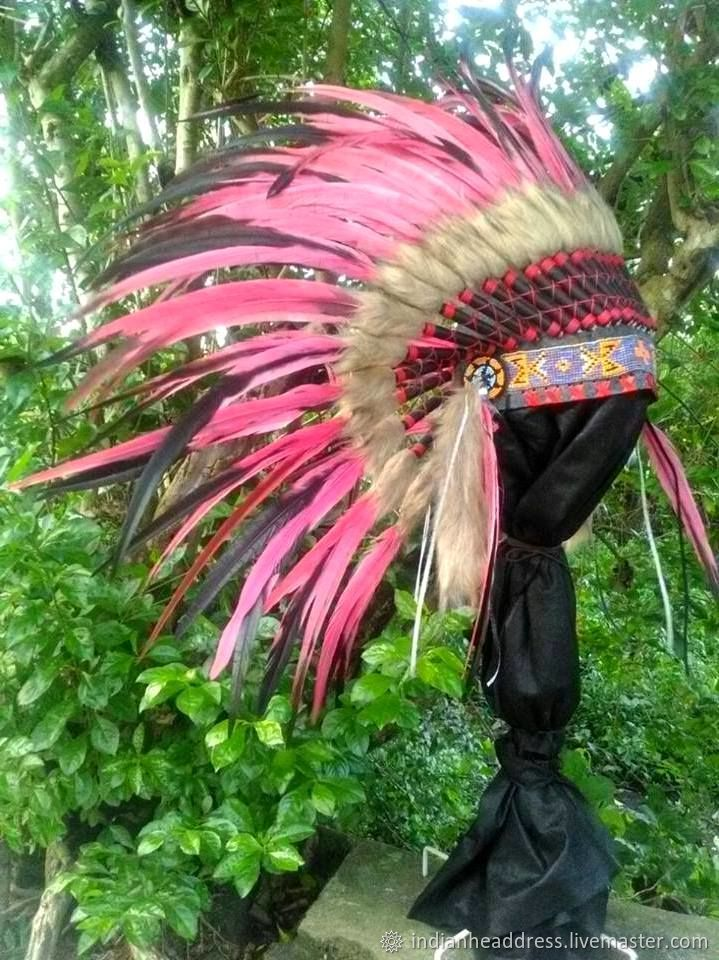 Costume War Bonnet Indian Feather headdress Native American Hat Feather Chief