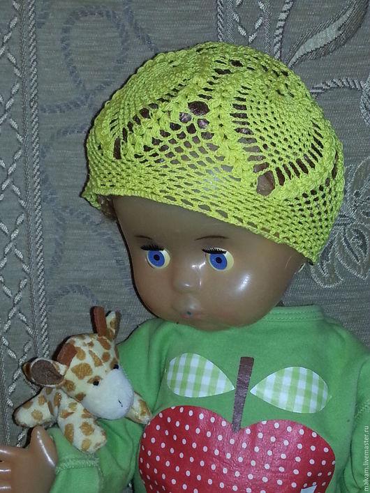 Шапки и шарфы ручной работы. Ярмарка Мастеров - ручная работа. Купить Ажурная летняя вязаная  детская шапочка , крючок. Handmade.