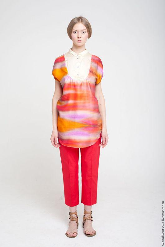 Блузки ручной работы. Ярмарка Мастеров - ручная работа. Купить SALE! Блузка оранжевая с коротким рукавом. Handmade. Рыжий