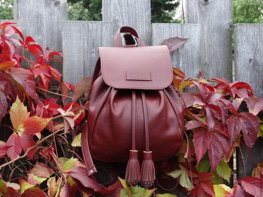Рюкзаки ручной работы. Ярмарка Мастеров - ручная работа. Купить Рюкзак кожаный женский, бордо, 9 литров. Handmade. Однотонный