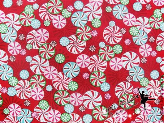 """Шитье ручной работы. Ярмарка Мастеров - ручная работа. Купить Новогодний хлопок """"карамелька"""". Handmade. Ярко-красный, хлопок для творчества"""