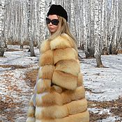 Одежда handmade. Livemaster - original item The fur coat of the Siberian red Fox. Cross. 3/4 sleeve. Handmade.