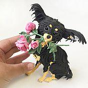 """Куклы и игрушки ручной работы. Ярмарка Мастеров - ручная работа фигурка """"собачка с пионами"""" (длинношерстный той терьер статуэтка). Handmade."""