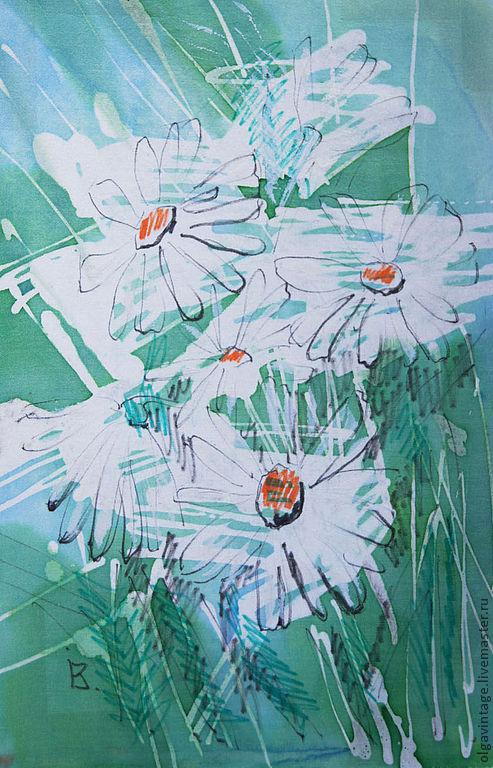 Картины цветов ручной работы. Ярмарка Мастеров - ручная работа. Купить Картина Ромашки. Шелк, батик. Handmade. Зеленый