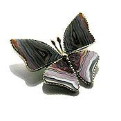 """Брошь-булавка ручной работы. Ярмарка Мастеров - ручная работа Брошь """" Бабочка"""" из кружевного агата. Handmade."""