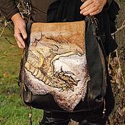 """Классическая сумка ручной работы. Ярмарка Мастеров - ручная работа Большая сумка из кожи """"Дракон"""". Handmade."""