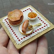 Куклы и игрушки handmade. Livemaster - original item Food for dolls - crepes on the plate for dollhouse miniature. Handmade.