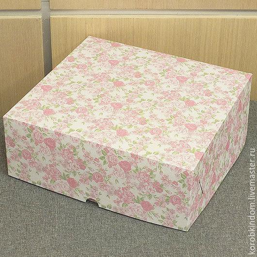 Упаковка ручной работы. Ярмарка Мастеров - ручная работа. Купить Коробка 25х25х10 нежно-розовая с цветами. Handmade. Коробочка